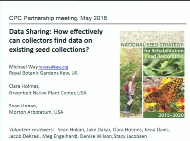 Screenshot from Data Sharing: How Effectively Can Collectors Find Data on Existing Seed Collections