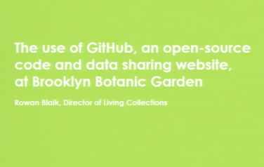 Screenshot from The Use of GitHub, an Open Source Code and Data Sharing Website, at Brooklyn Botanic Garden video