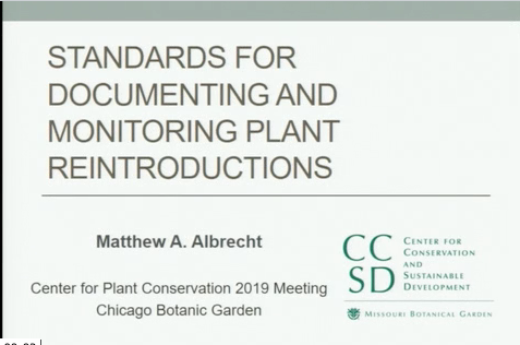 Screenshot from Standards for documenting and monitoring plant reintroductions video
