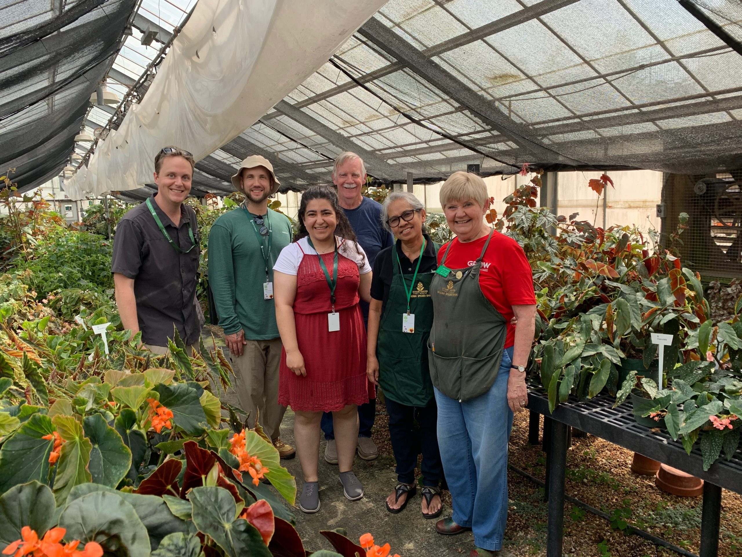 Part of the Nationally Accredited Begonia collection at the Fort Worth Botanic Gardens, from L to R: GGI-Gardens Director, Dr. Morgan Gostel, 2019 GGI-Gardens Fellows Seth Hamby and Farahnoz Khojayori, Begonia Collections Volunteer, Don Miller, Visiting Begonia expert, Dr. Rosario Rubite, and Begonia Collections Volunteer, Taddie Hamilton.