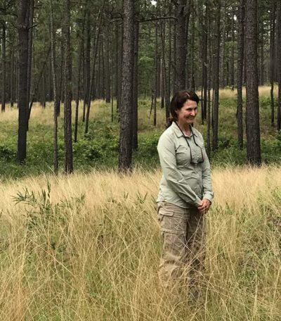 Janet Gray, retired botanist with Fort Bragg in long leaf pine sandhills.