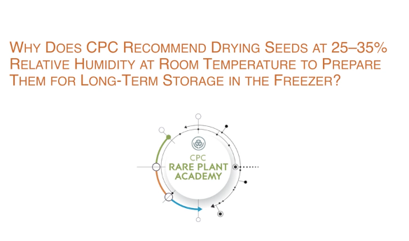 Screenshot of Why does CPC recommend drying seeds at 25-35% RH and 25C for long term storage in the freezer?