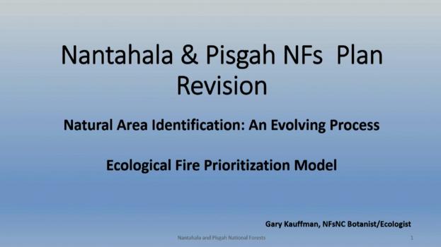 Screenshot of Natural Areas Designations with the Nantahala & Pisgah NFs Plan Revision video.