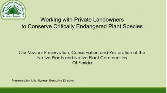 Screenshot of Working with Private Landowners to Conserve Critically Endangered Plant Species video.