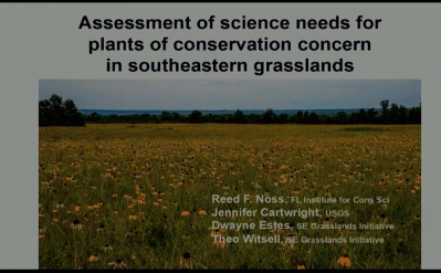 Screenshot of Assessment of Science Needs for Rare Plants of Conservation Concern in Southeastern Grasslands video