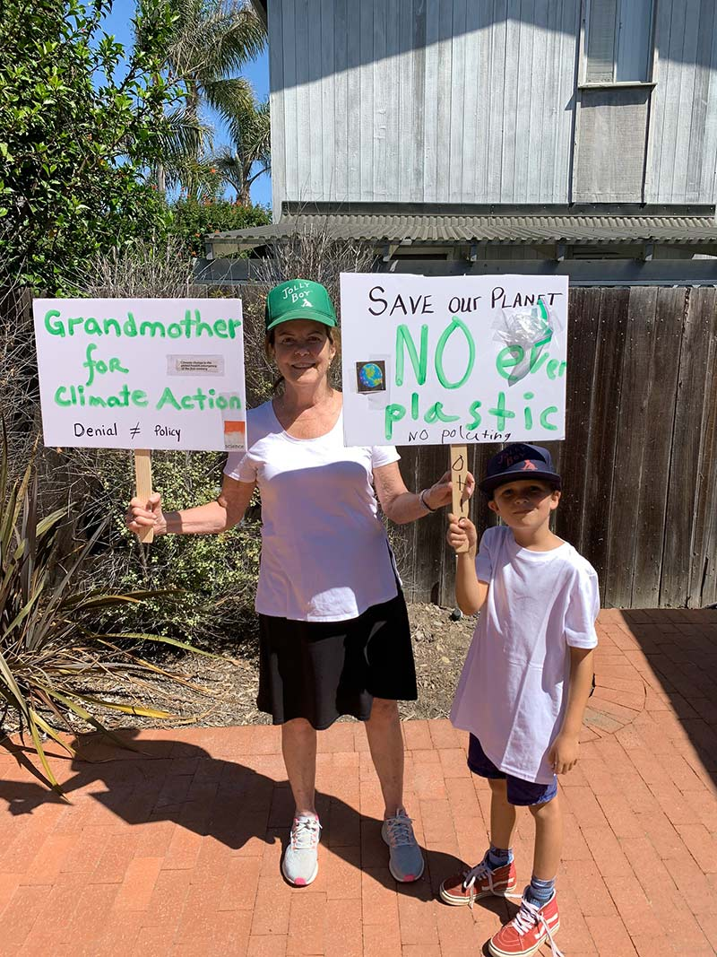 You can't start them too young – Lindsay took her 8-year old grandson to the Ventura Climate March.