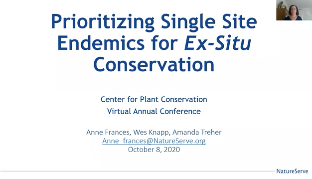Screenshot of Prioritizing Single Site Endemics for Ex Situ Conservation video.