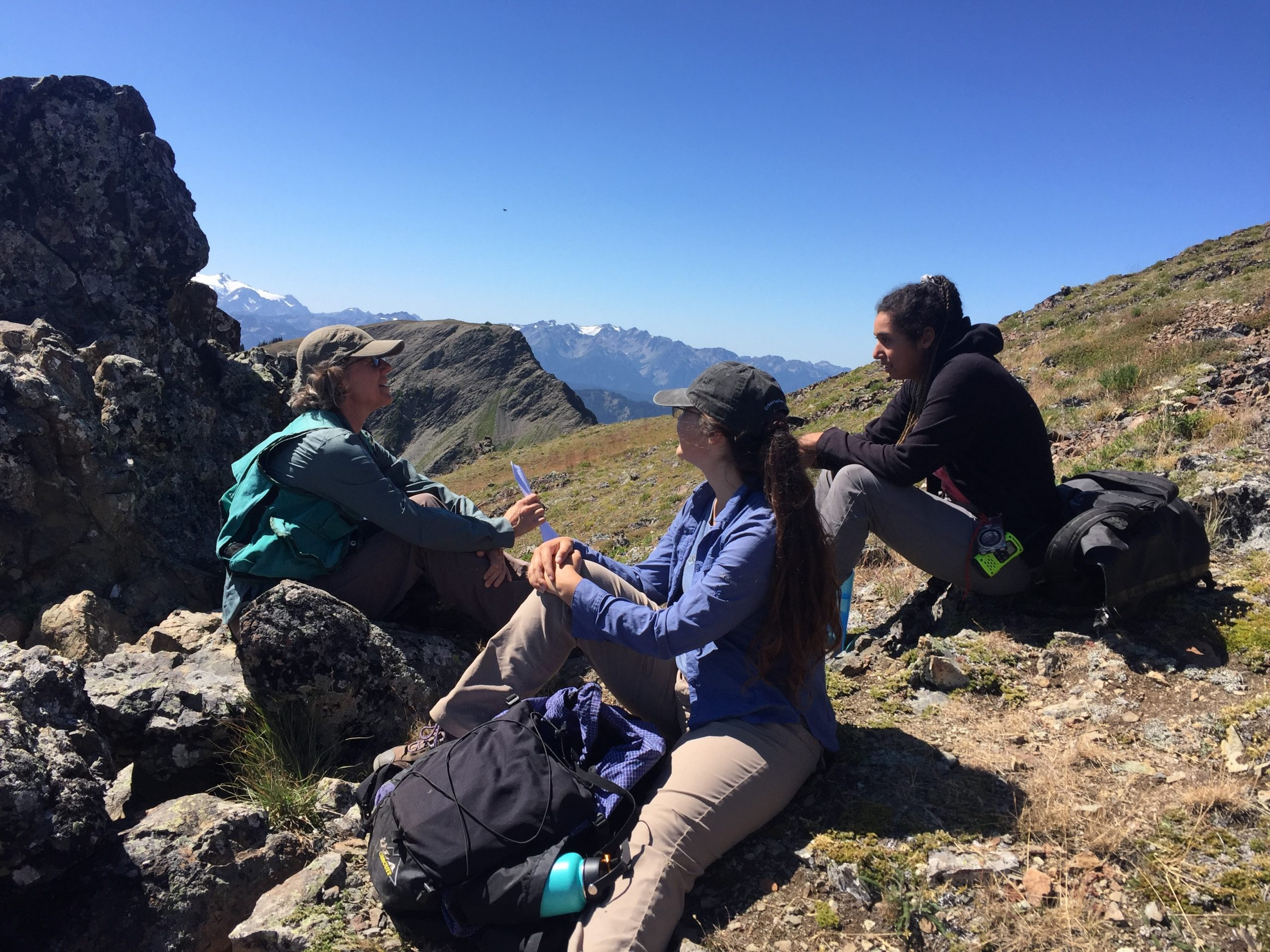 Wendy sits with the 2019 interns to discuss making a seed collection while out in the field. Photo credit: Stacy Kinsell, courtesy of University of Washington Botanic Gardens.