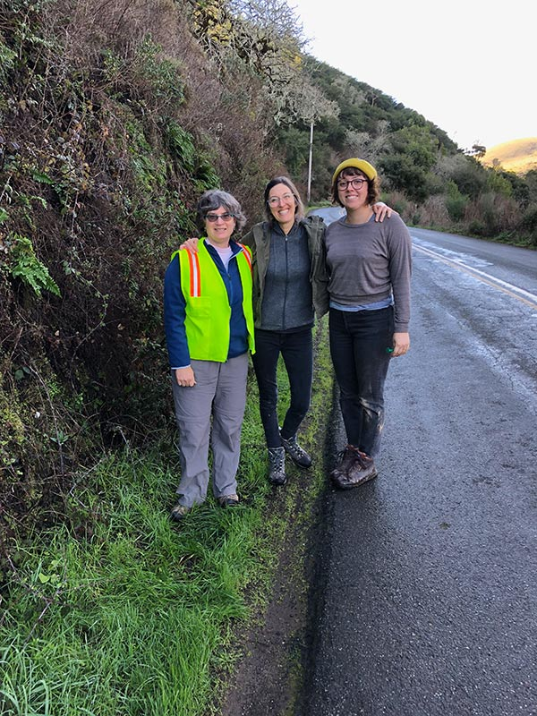UCBG conservation staff (left to right, Holly Forbes, Vanessa Handley and Clare Loughran) on a Delphinium bakeri monitoring trip in 2019.