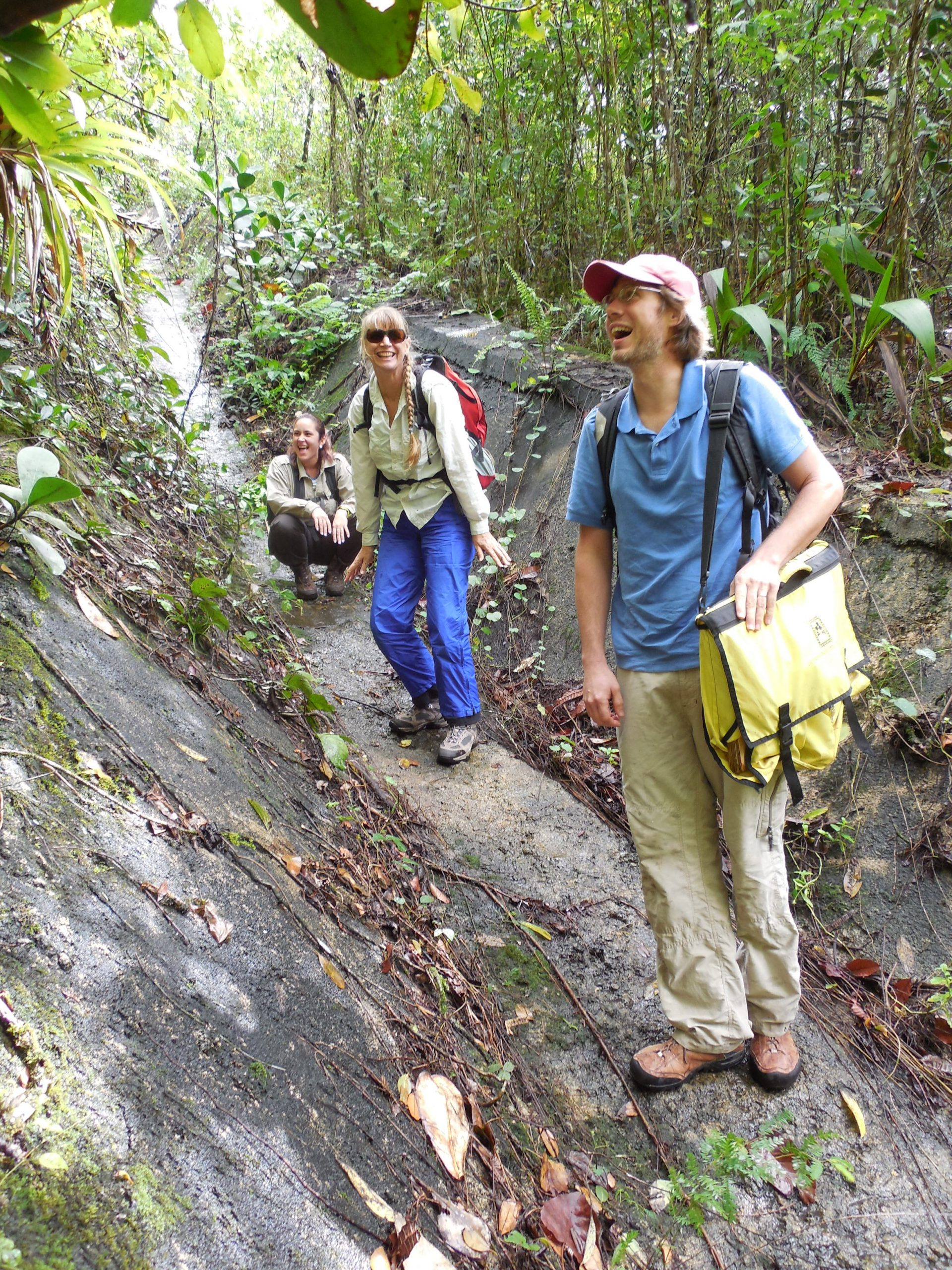 Joyce and colleagues negotiate a very slippery culvert to reach the habitat of the endangered fern Tectaria estremerana growing in Rio Abajo, Puerto Rico.