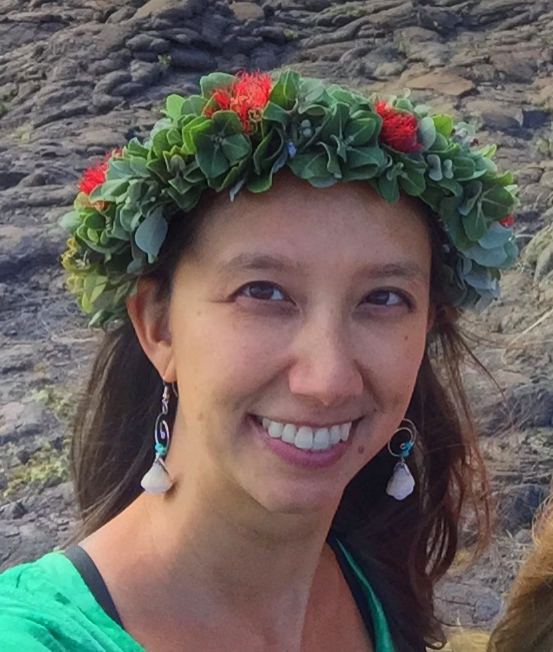 Marian Chau dons an 'Ōhi'a lei – an important traditional use of the culturally, and ecologically, important group of trees.