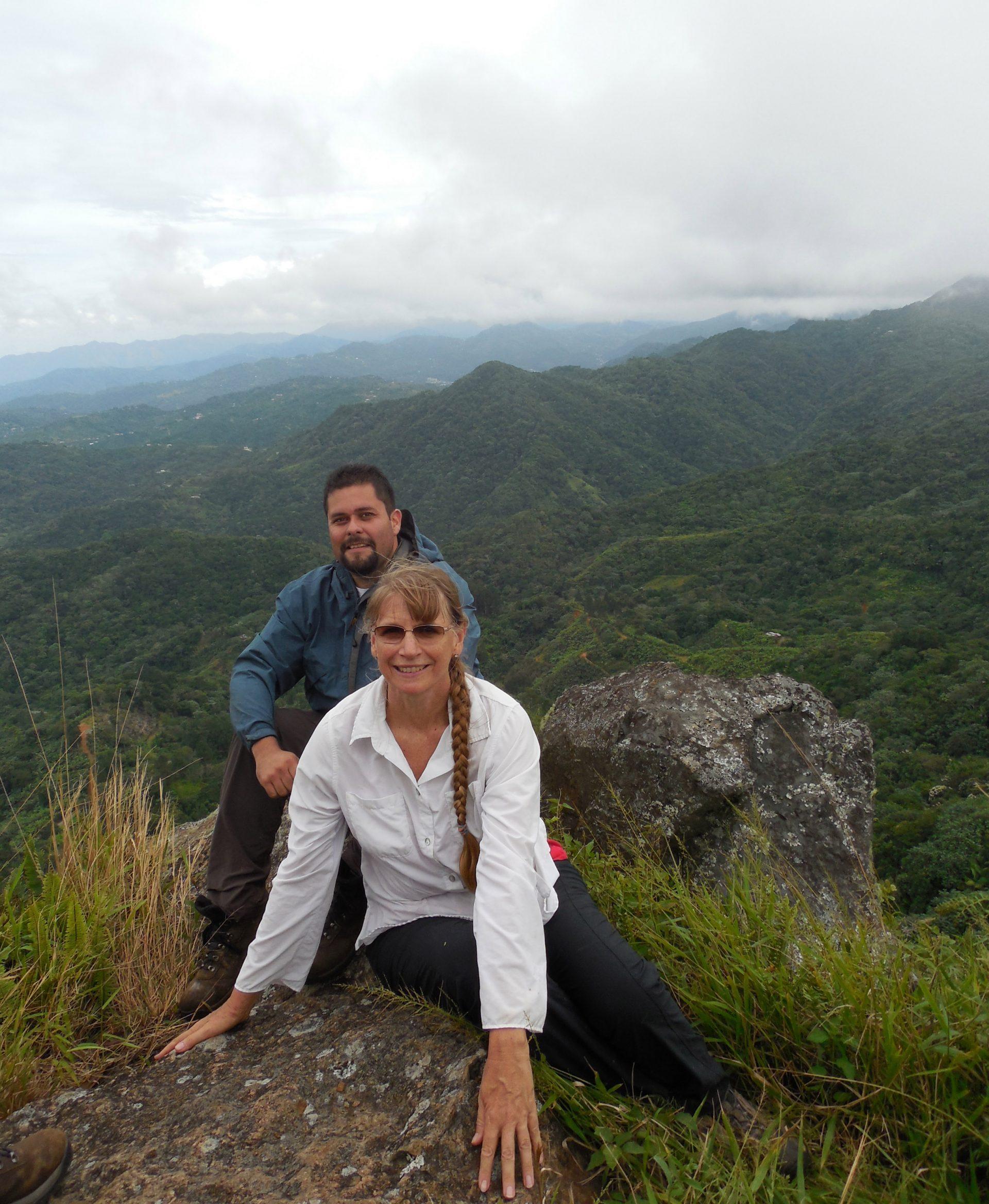 Joyce Maschinski with USFWS botanist Omar Monsegur near the summit of Silla de Calderón to collect Polystichum calderonense, November 2014.
