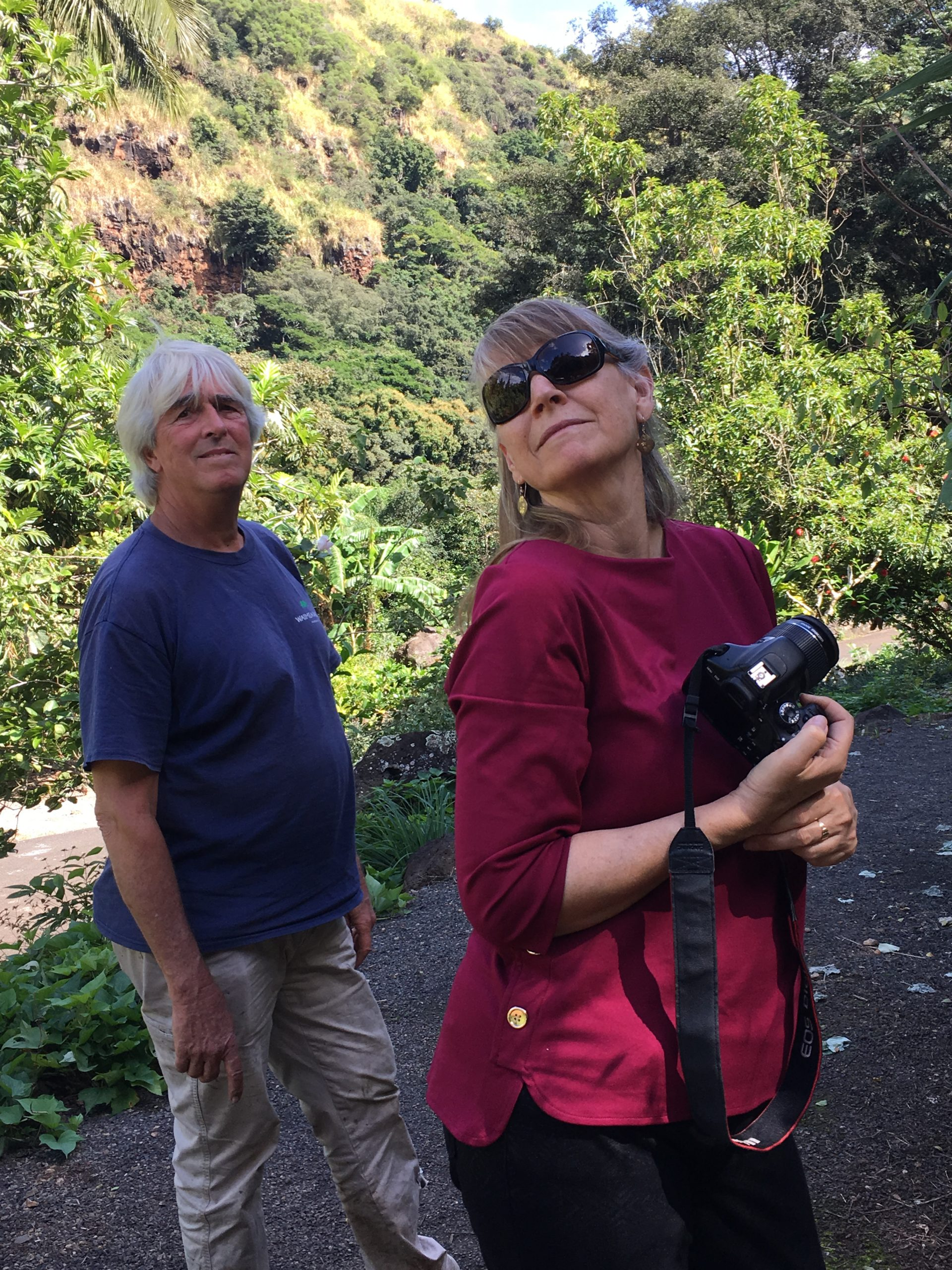 Joyce Maschinski tours Waimea Valley with botanical collections specialist David Orr.