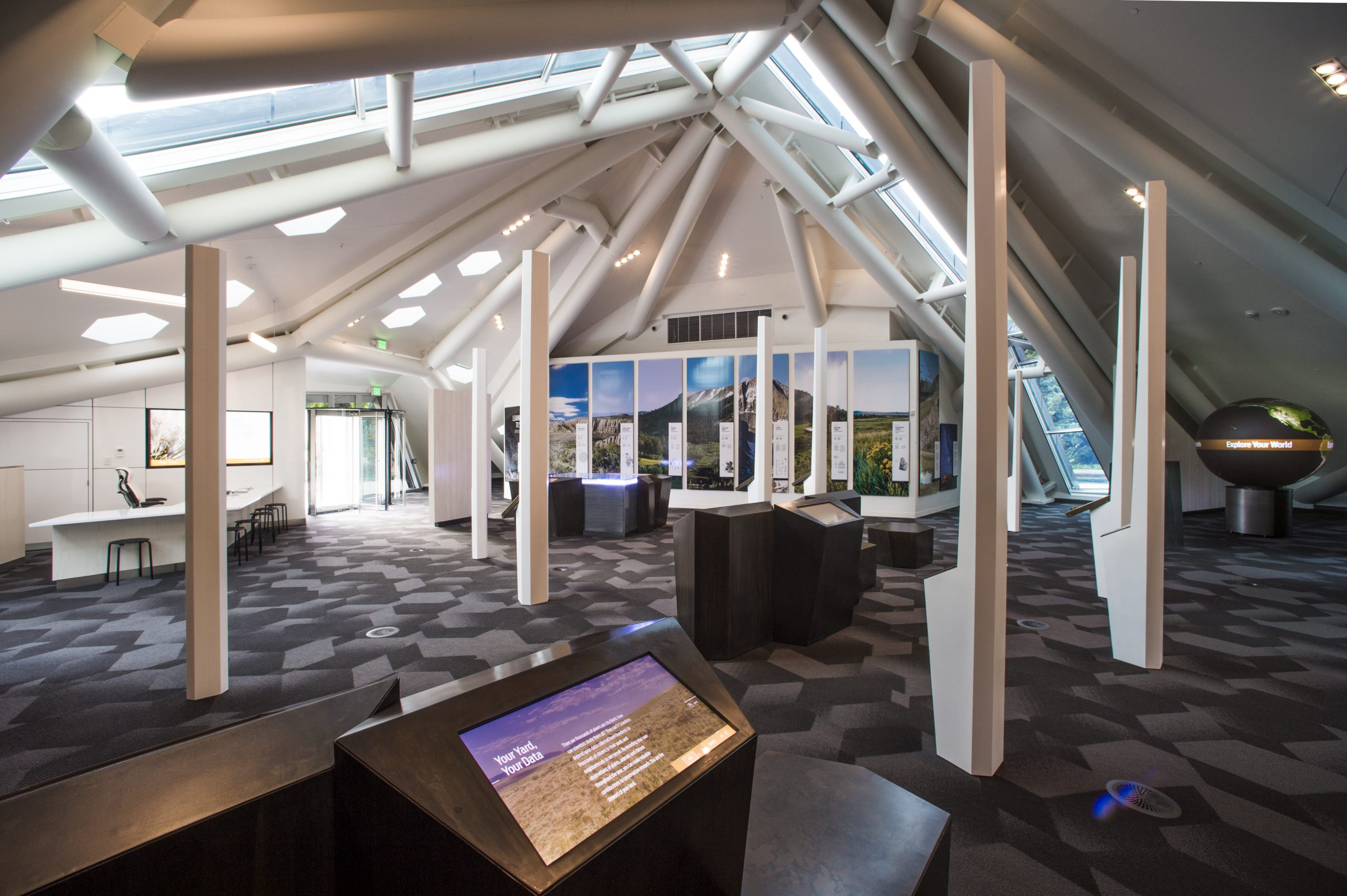 Through touchscreens, sounds, video, and more, the interior of the Science Pyramid brings guests closer to nature through technology.