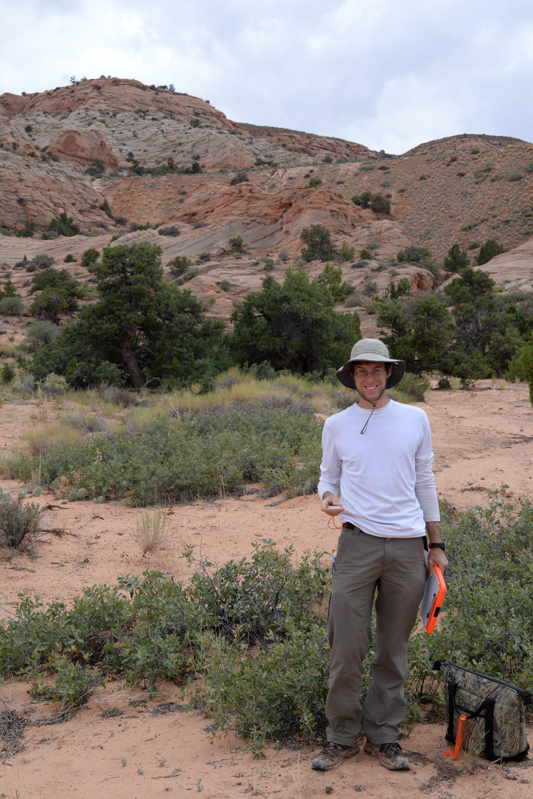 Sean Hoban in the field with shinnery oak (Quercus havardii)
