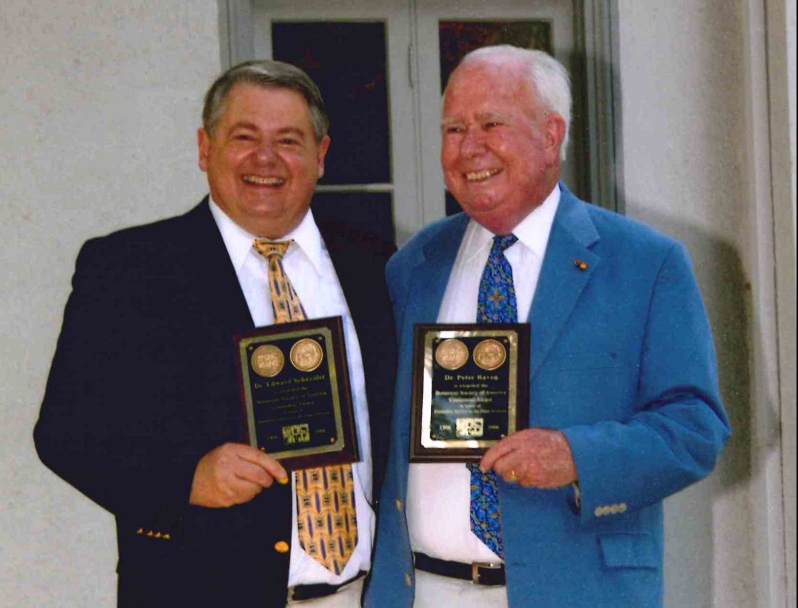 In 2006, the Botanical Society of America marked their 100 years as an organization with the creation of the Centennial Award. Both Dr. Edward Schneider and Dr. Peter Raven were presented the award, recognizing outstanding service to the plant sciences and the Society.