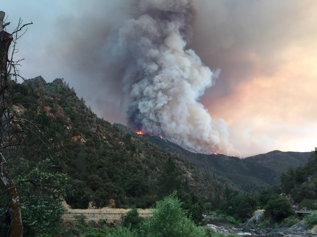 Ferguson fire rages over the top of a ridge near El Portal. Photo from the US Forest Service.
