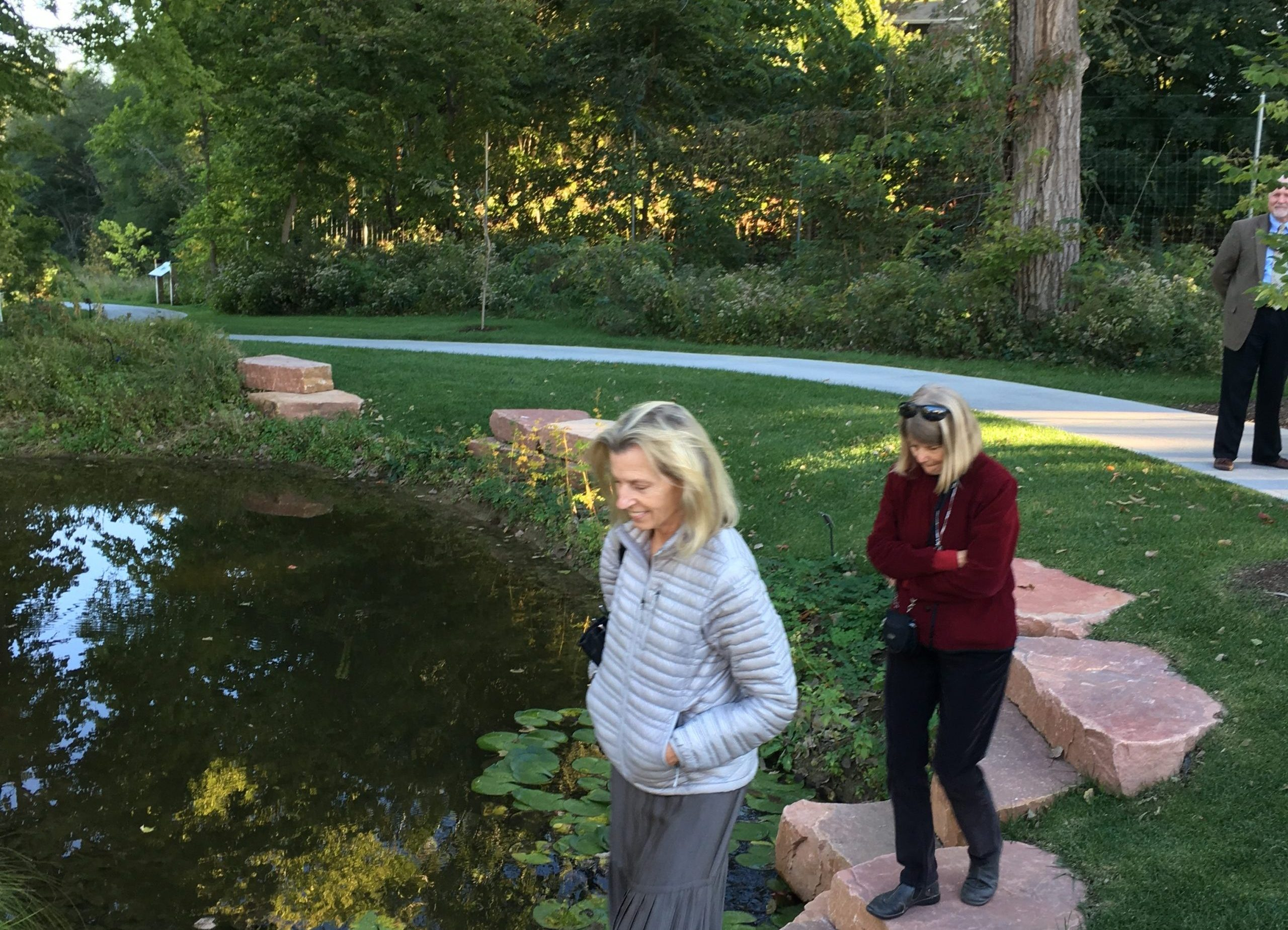 Incoming Board Chair Barbara Millen and Board Treasurer Lucinda McDade visit Lauritzen Gardens after a Board meeting.