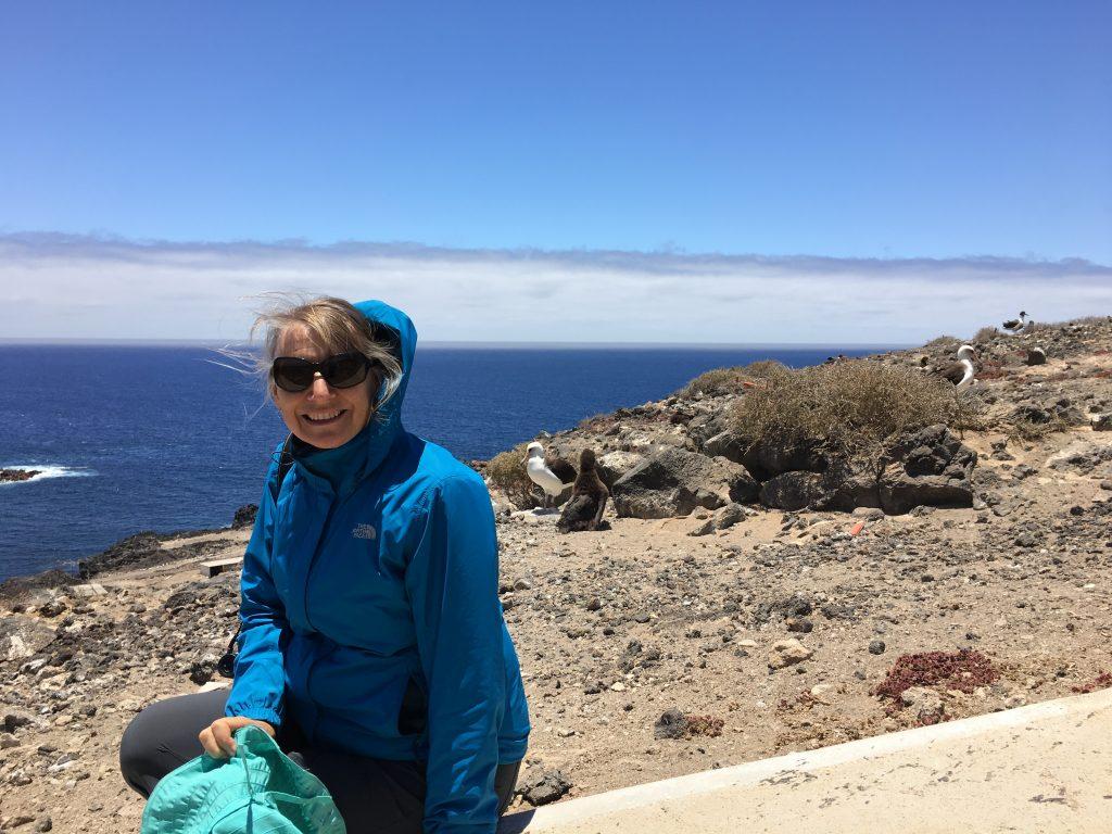 Joyce Maschinski sitting near the Laysan albatross chicks on Guadalupe Island.