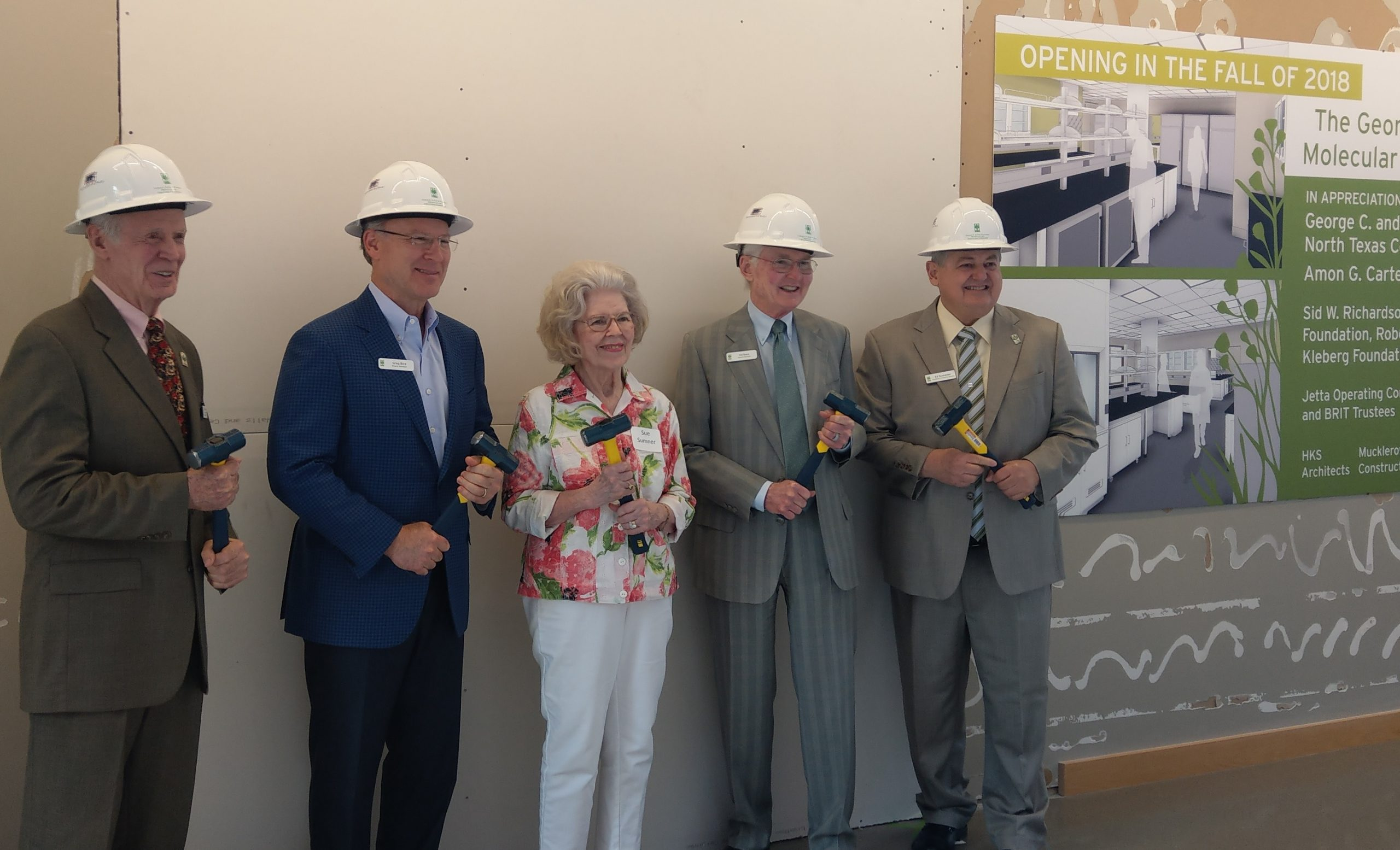 In August 2018, BRIT celebrated the beginning of construction of their upcoming Molecular Lab. The lab will help establish BRIT as a top-tier plant research and education organization. Executive Director and President Edward Schneider is on the far right.