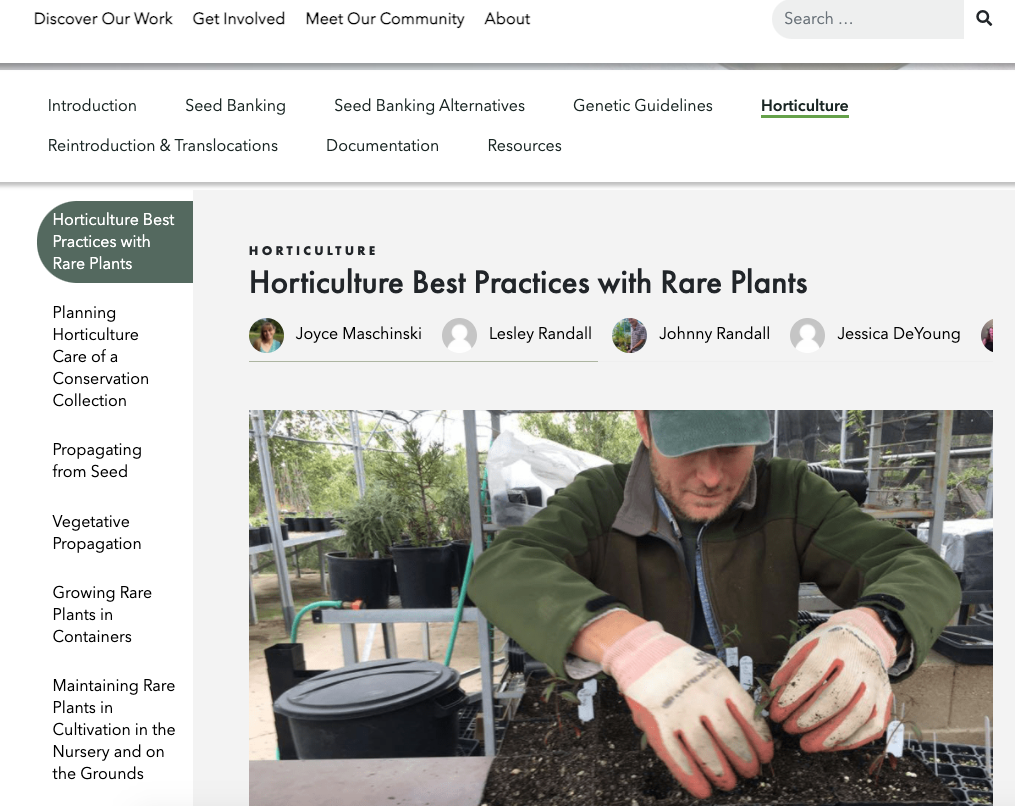 Screenshot of CPC's horticulture best practices.