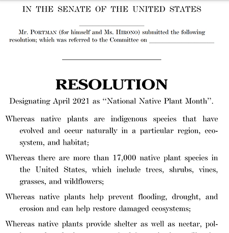 "Image of Biopartisan Senate Resolution Proposes April as ""National Native Plant Month"""