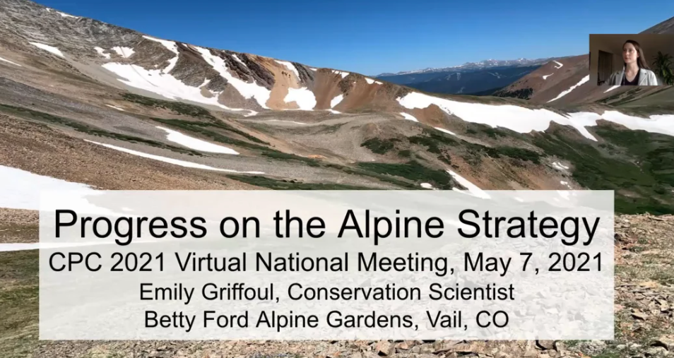 Screenshot from Progress on the North American Botanic Garden Strategy for Alpine Conservation.