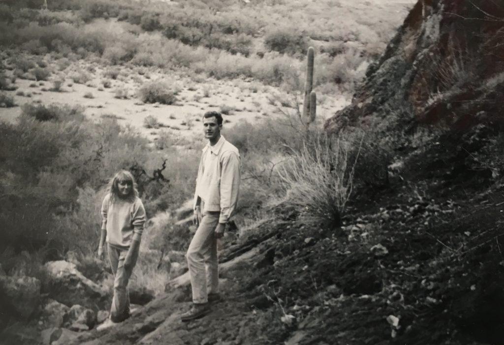 Image of Carolyn Schmitz & Tony Schmitz walking in the desert near Phoenix, Arizona, 1965.