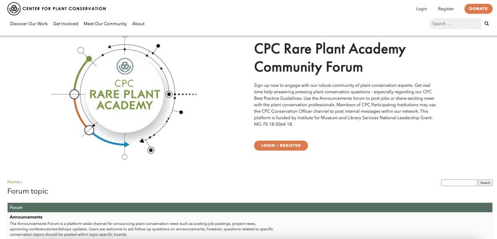 Screen shot of Rare Plant Academy forums.